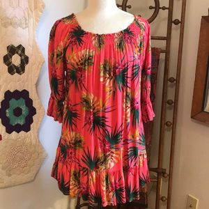 Tangerine Temple Tropical Dress